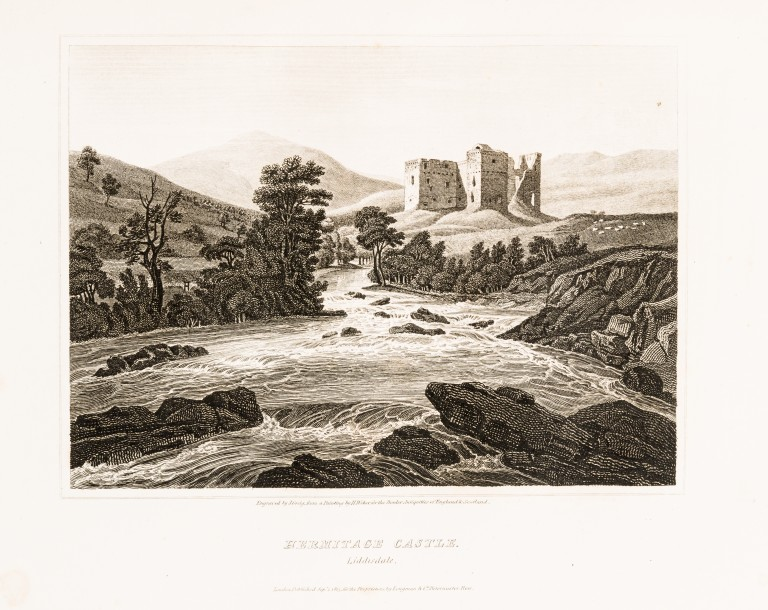 Hermitage Castle, shown in Scott's Antiquities of the Scottish Border. This illustration depicts the castle before restoration work was undertaken by Scott's relative, the Duke of Buccleuch, in the 1830s.