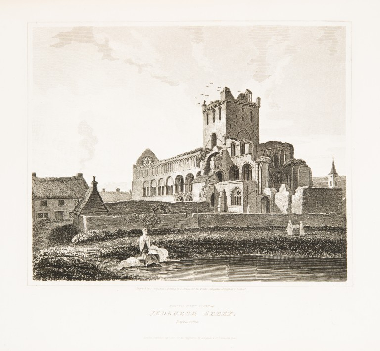 An illustration of Jedburgh Abbey, from Scott's Antiquities of the Scottish Border, 1814