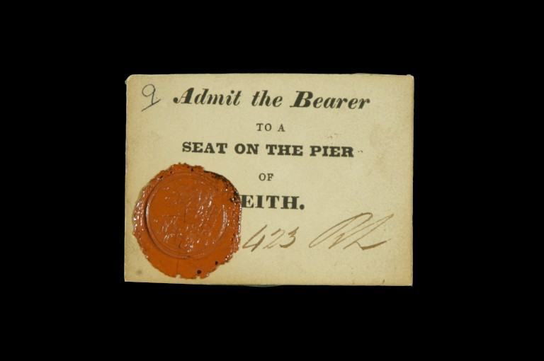 This ticket, admitted 'the bearer' to a seat on the pier of Leith to watch the landing of the King on Scottish soil
