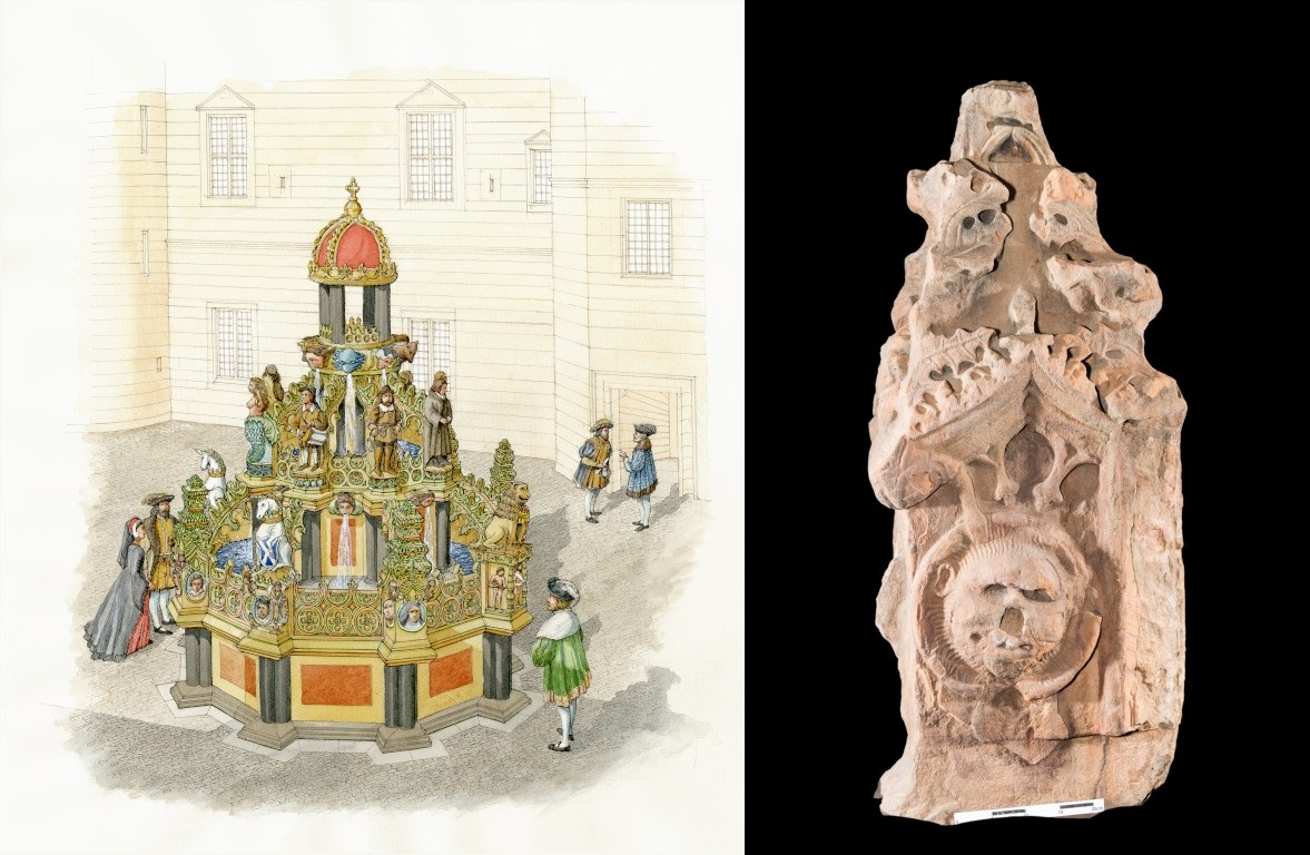An illustration of how the Linlithgow Fountain would have looked like next to a photo of the stone column