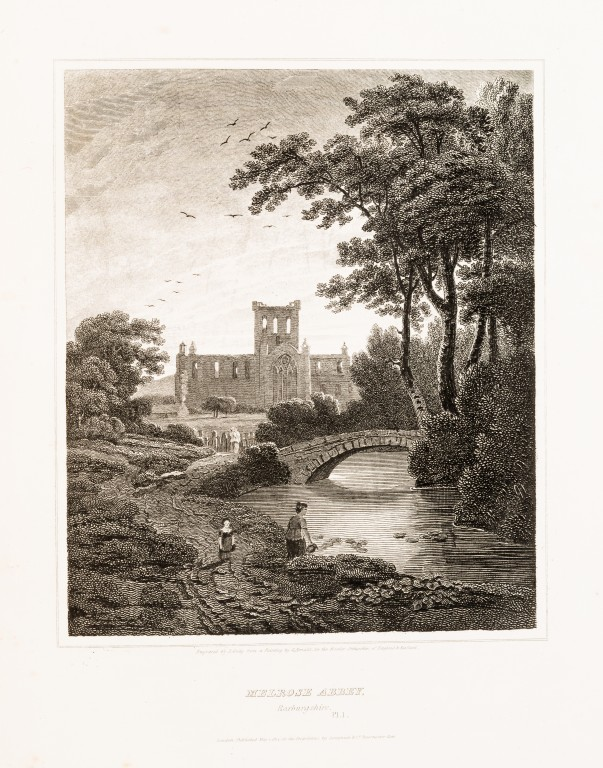 The serene ruins of Melrose Abbey, shown in Scott's Antiquities of the Scottish Border.