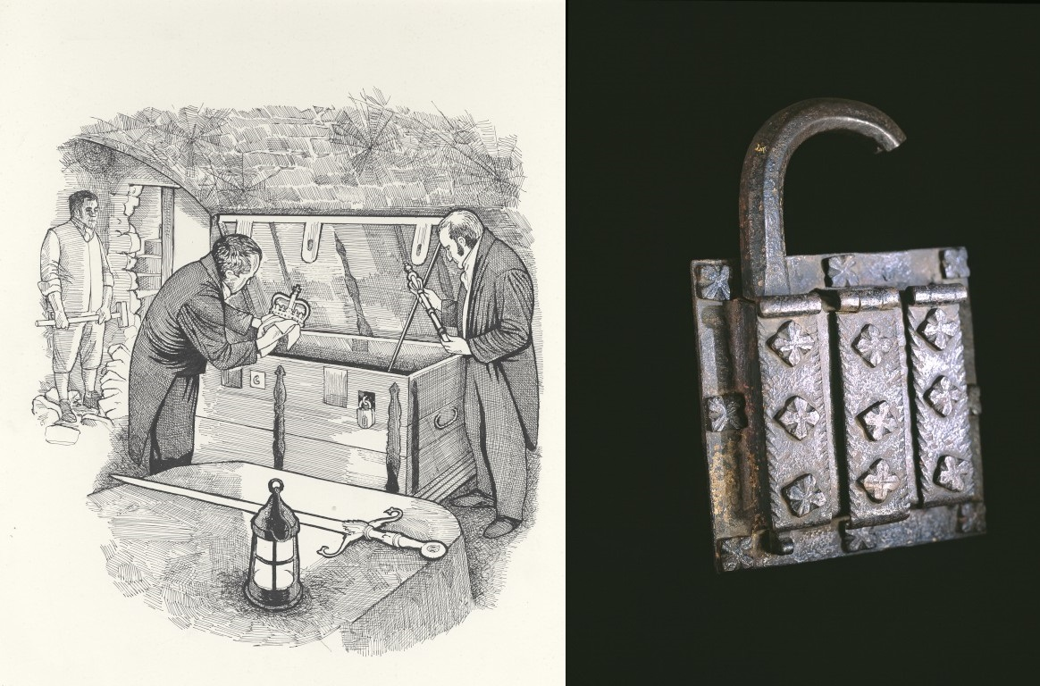An illustration of Walter Scott recovering the crown jewels, next to a photo of the broken padlock