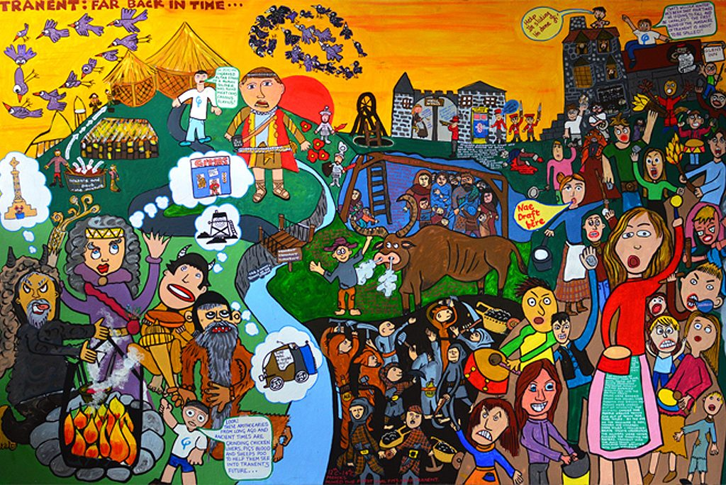 section of a mural showing children's ideas of their home town