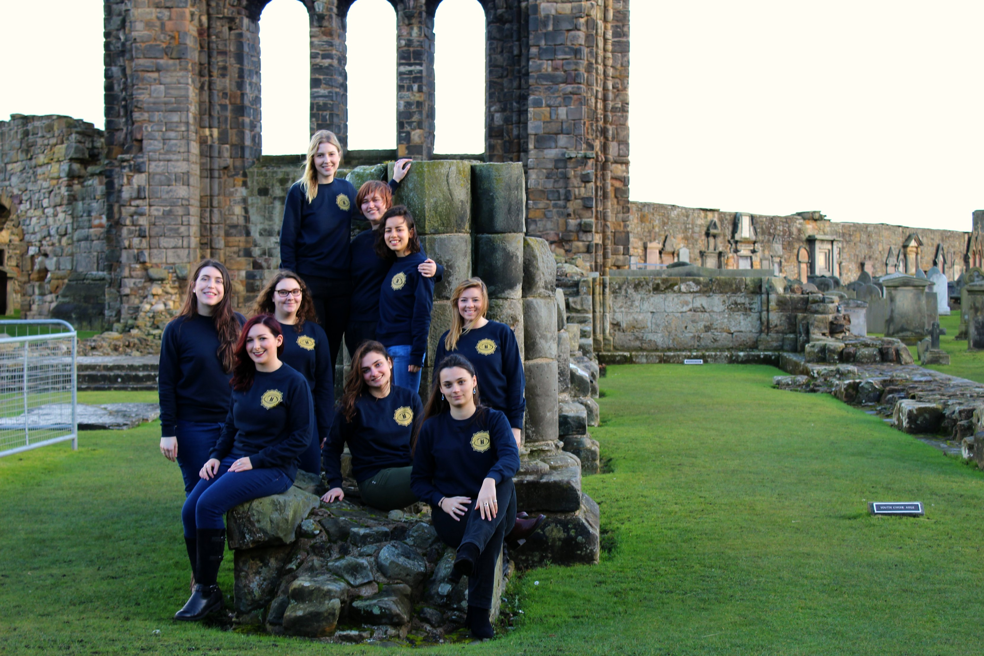 The students on a trip to St Andrews Cathedral, one of the historic buildings that is discussed in the new display.