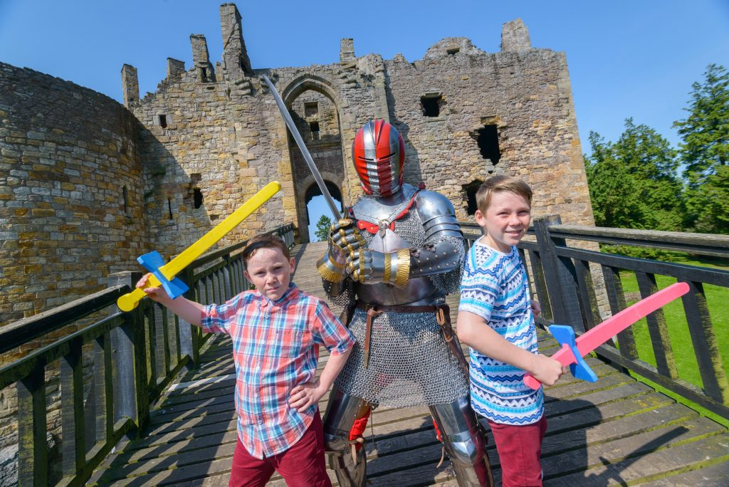 Dirleton Castle. Promotional images of a family visiting Dirleton Castle