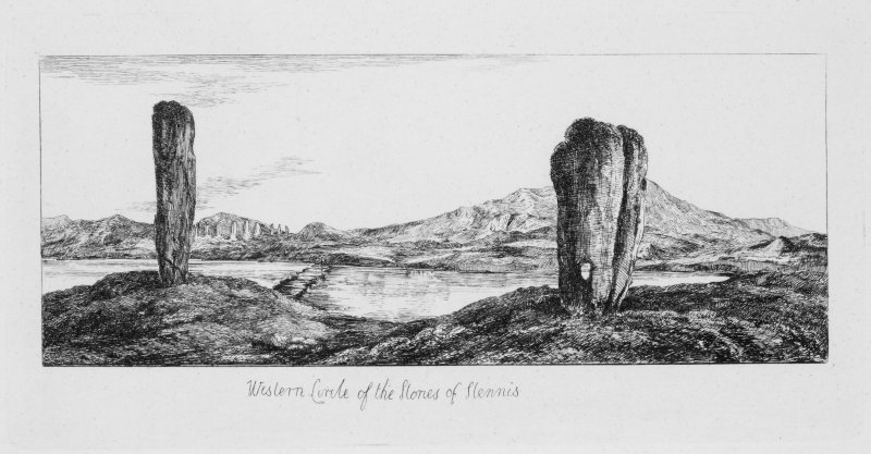 The Watch Stone (left) and the Stone of Odin (right) near the Stones of Stenness. DP 038990