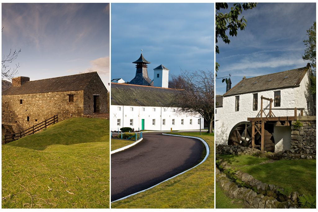 Three examples of Scotland's industrial heritage - left Bonawe Iron Furnace; middle Dallas Dhu Distillery; right New Abbey Corn Mill