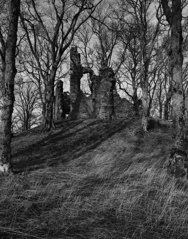 black and white image of a ruined castle on a grassy mound surrounded by trees