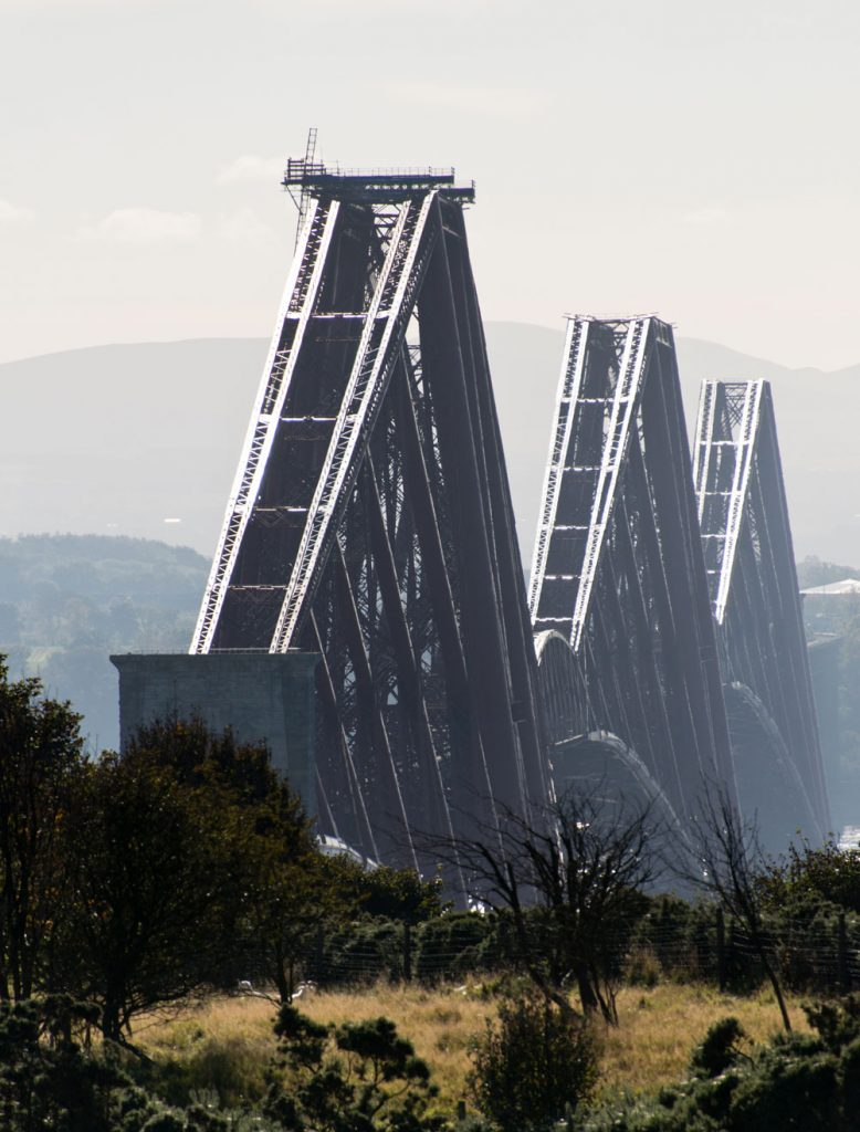 A photograph of the metal beams of the Forth Bridge.
