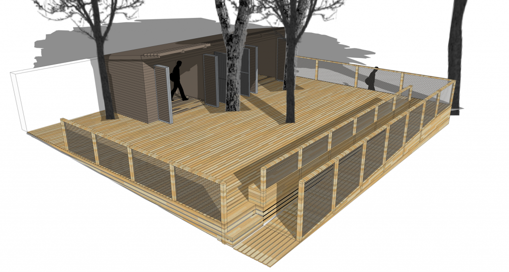 illustration showing a shed and decking