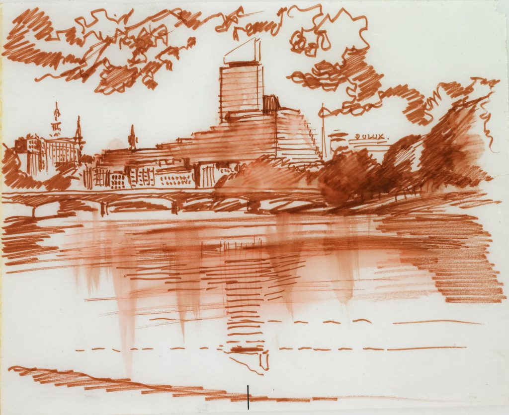 A sketch of a modern building in front of a lake