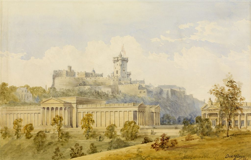 A watercolour painting of a castle high on a hill with a tower