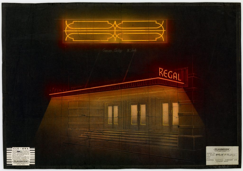 A drawing of a building on black paper with neon lights in yellow and red.