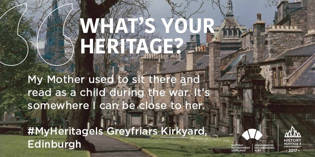 image of a graveyard with text overlaid on top quoting a consultee who said their mother used to sit in Greyfriars Kirkyard and read as a child