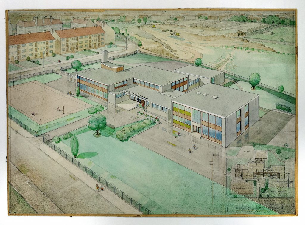 A drawing of a building with a flat roof and a large green space at the front.