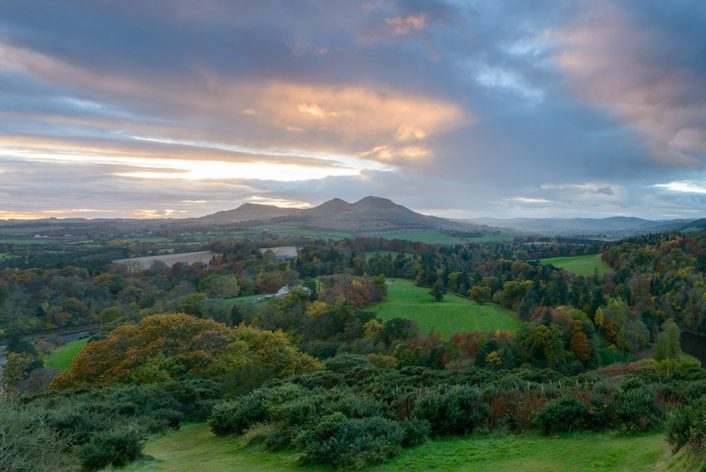 Scotts View - landscape scene overlooking the valley of the River Tweed with trees and a mountain in the distance