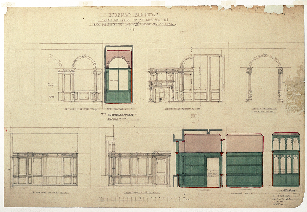 Architectural drawing by Edinburgh practice Dunn and Findlay showing sketches of wood panels, windows and doorways