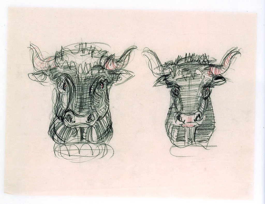 An image of an architect's sketches of two bulls