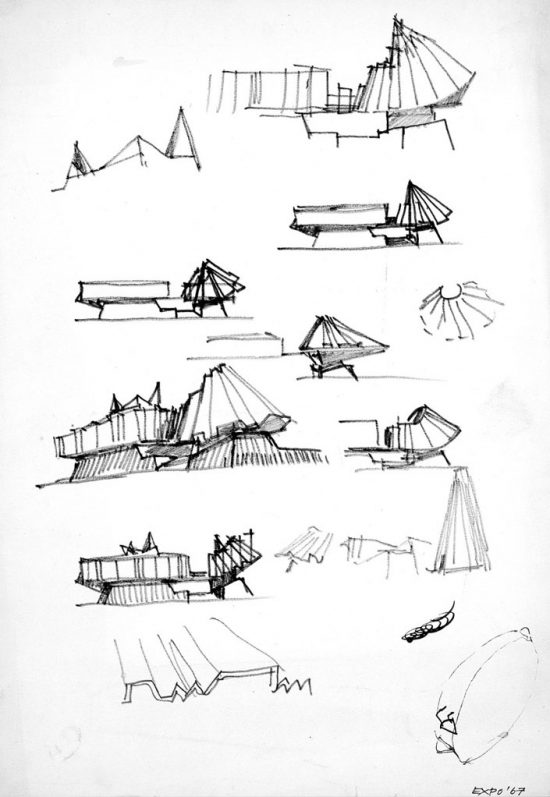 Image of an architect's sketches of ideas for a new building