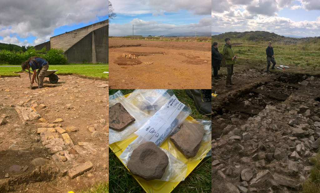 collage showing four archaeological dig sites