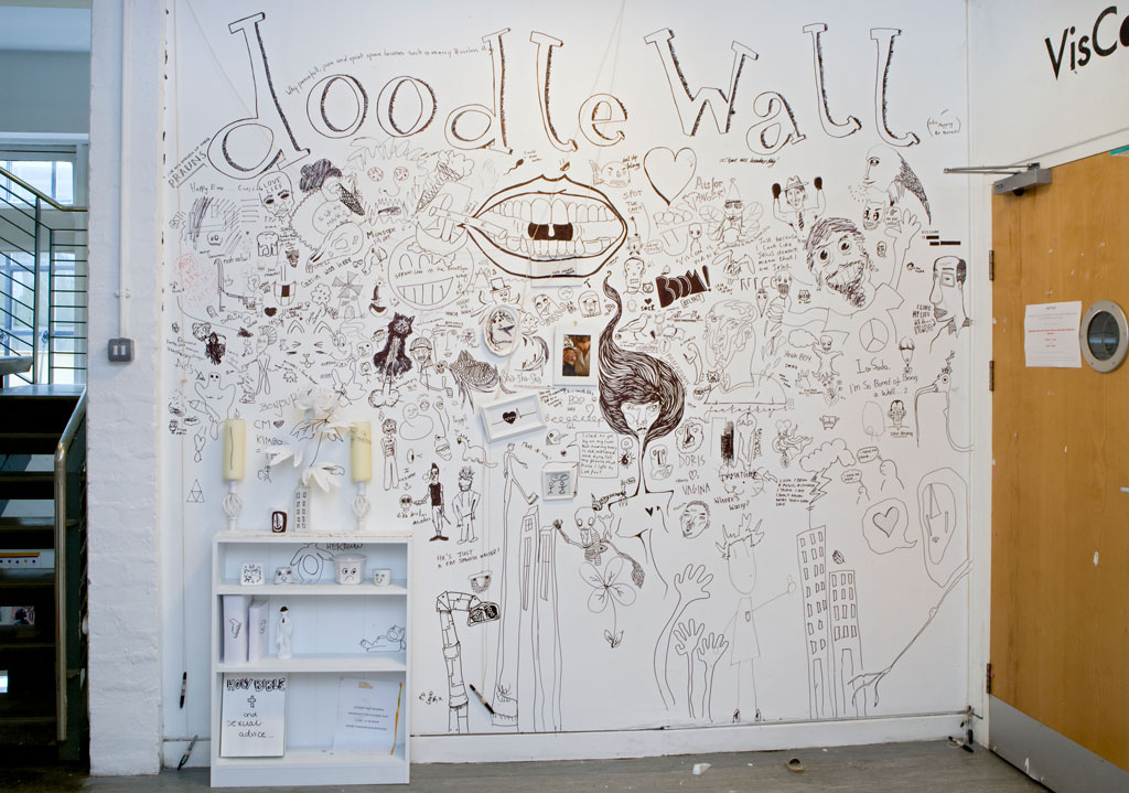 An image of a doodle wall with sketches by students