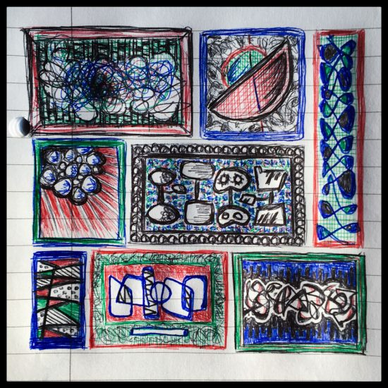 Image of an artistic doodle with colourful patterns and designs