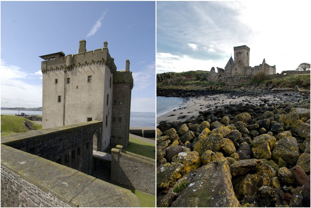 two photographs side by side - left showing a pale stone tower with crenellations and sea behind it, right showing rocky beach with abbey complex in distance