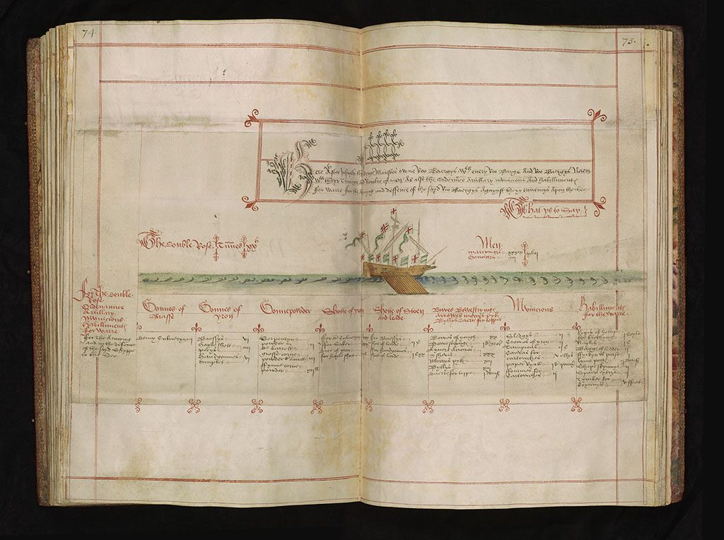 open book showing a diagram of a boat