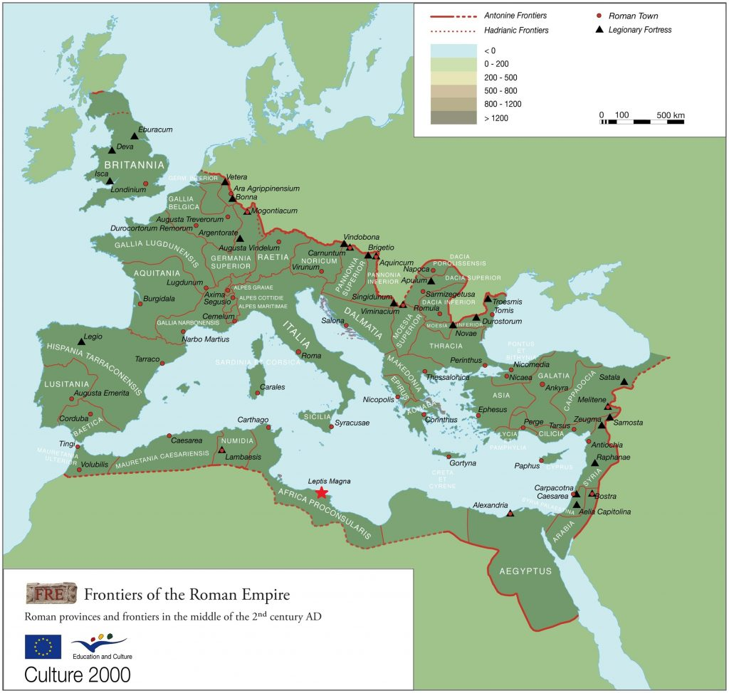 map showing the Roman Empire