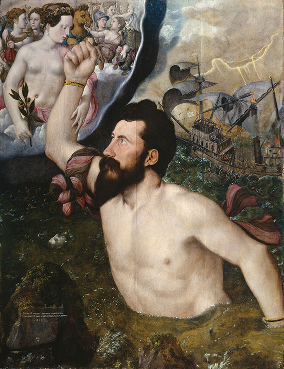 painting showing top half of a bearded man with right arm raised to the sky and a ship behind him