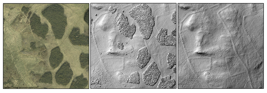three scan images side by side, showing an aerial view of a historic fort