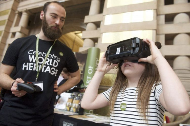 Image of a young girl using virtual reality goggles