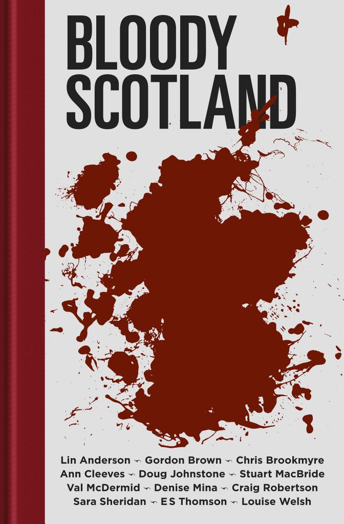 white book cover with red blood stain in the shape of scotland