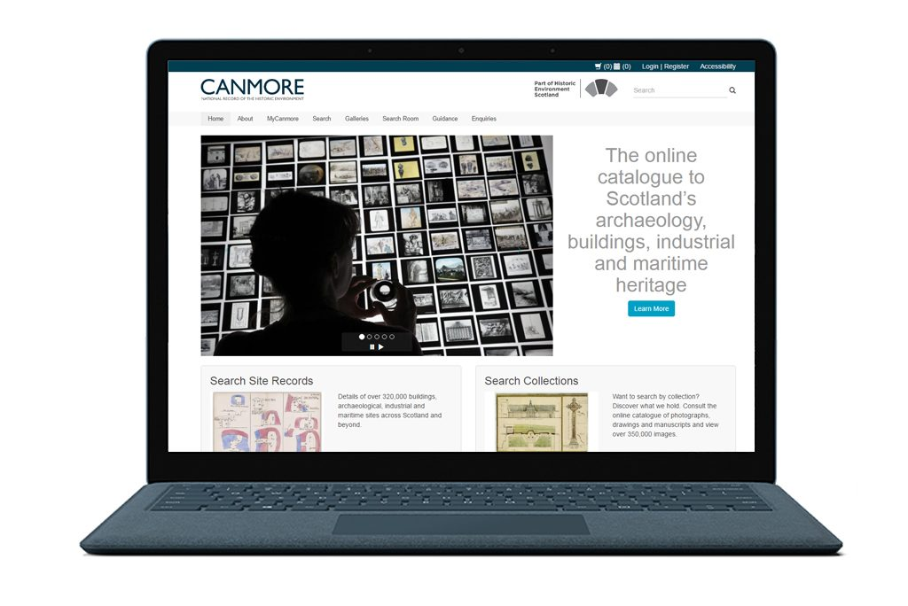 laptop showing the front page of a website with text reading 'canmore, the online catalogue to Scotland's archaeology, buildings, industrial and maritime heritage'