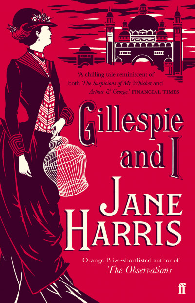 red book cover with an illustration of a woman in a long black victorian dress and hat, looking away to a building in the background