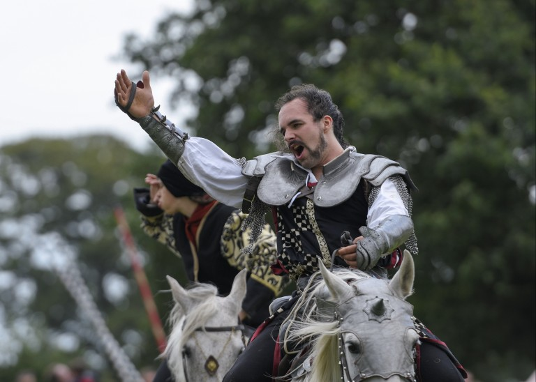 knight on horseback raises his arm and shouts at the crowd