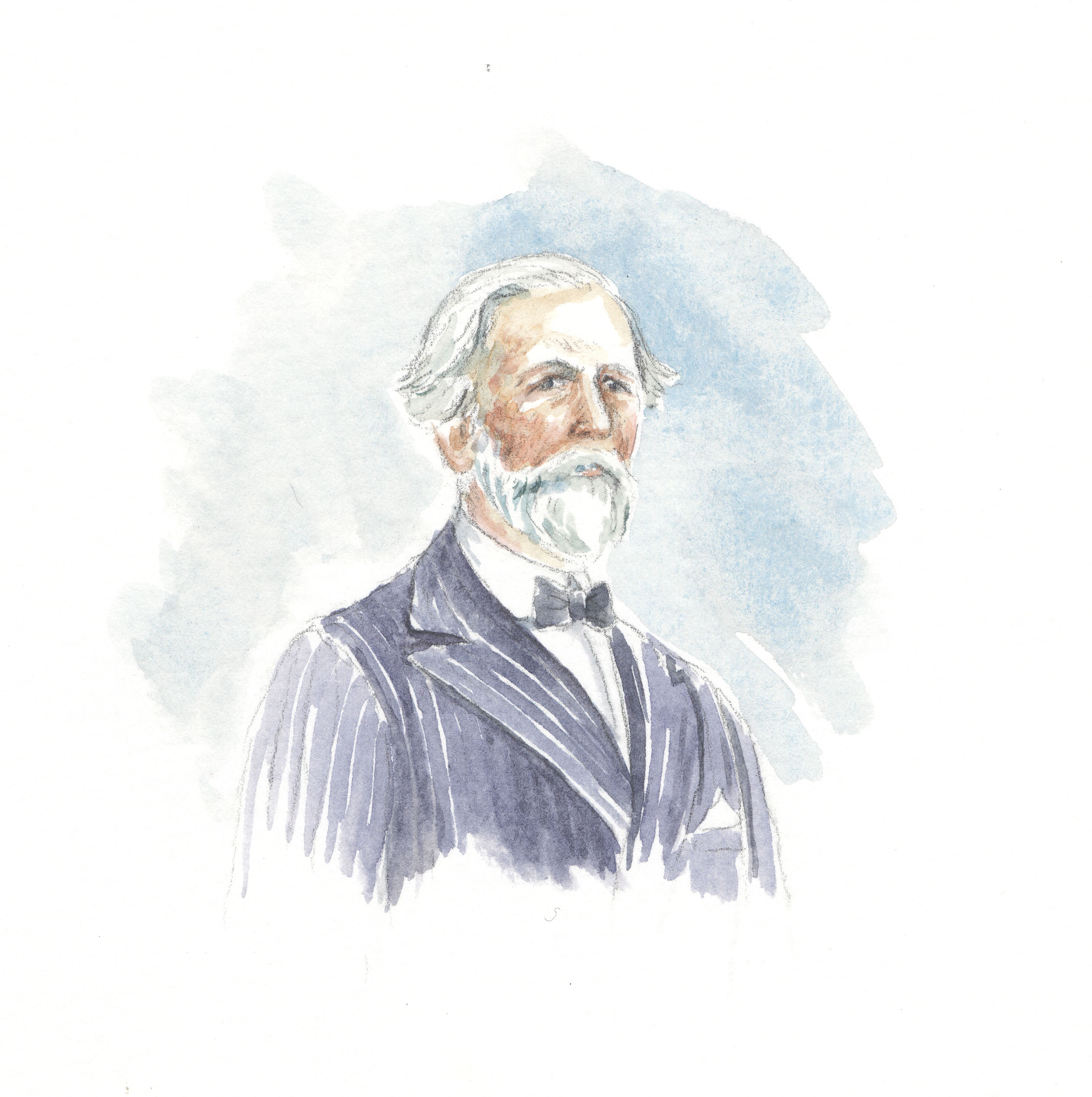 watercolour image showing head and shoulders of man with white hair and beard