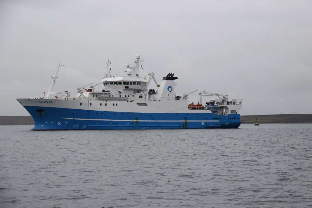 MV Scotia, one of Marine Scotland's very capable ocean going research ships, seen here conducting a remote sensing survey as part of the Shiptime Project in Scapa Flow