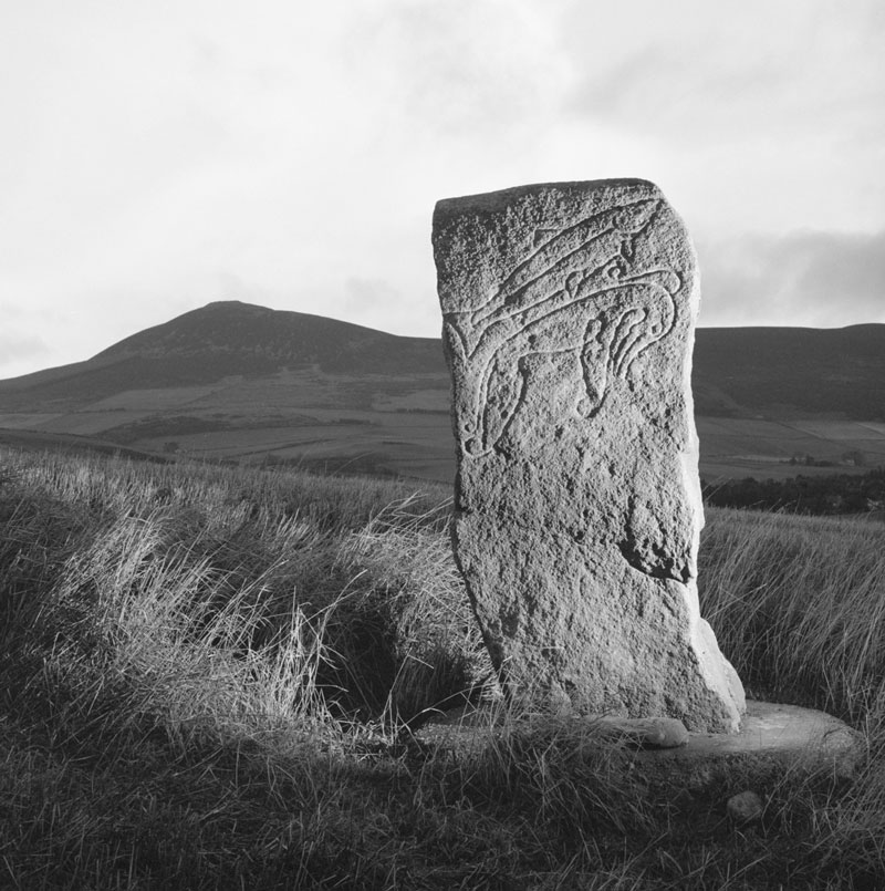 black and white image of a Pictish standing stone
