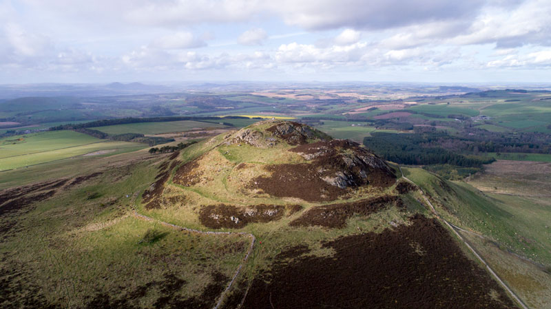 aerial view of an ancient fort in the Scottish Borders