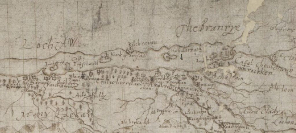 historic map showing a drawing of a long loch and rivers flowing away from it