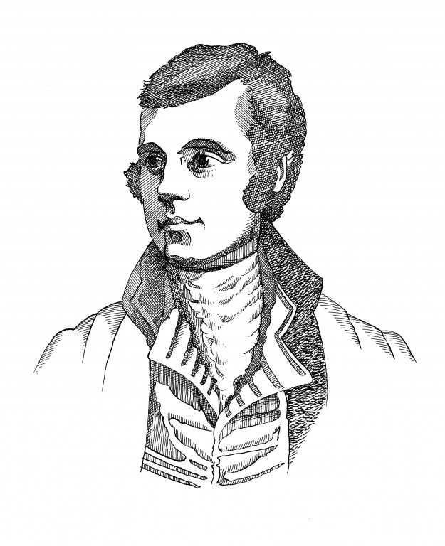 black and white line drawing of head and shoulders of man in cravat