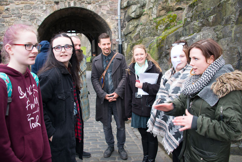 Image of a group of young people designing a tourist event at Edinburgh Castle