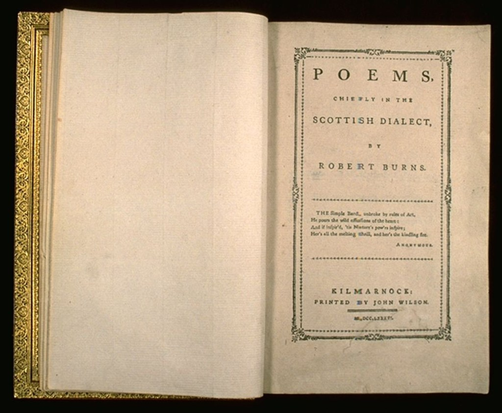 open book with cover page announcing title 'poems chiefly in the scottish dialect'