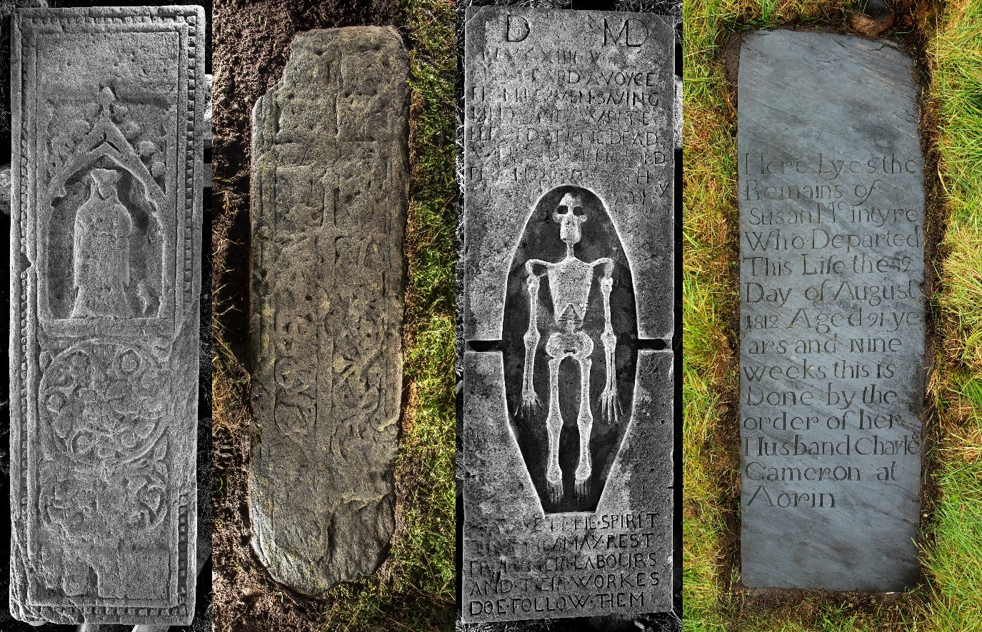 four grave slabs side by side