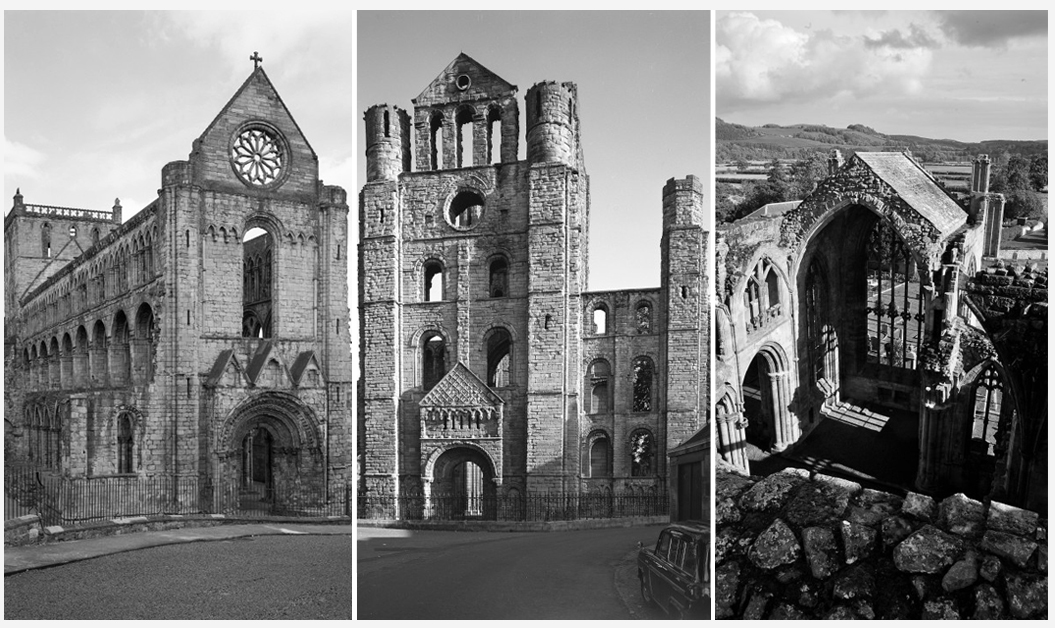 three pictures of medieval abbeys