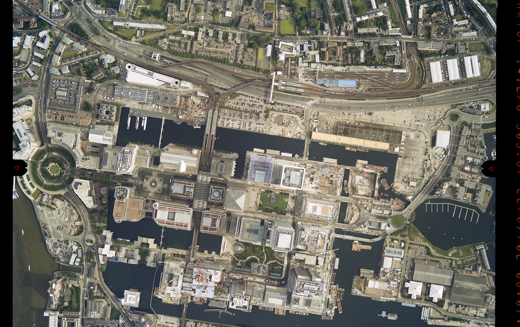 aerial photograph of Canary Wharf, London