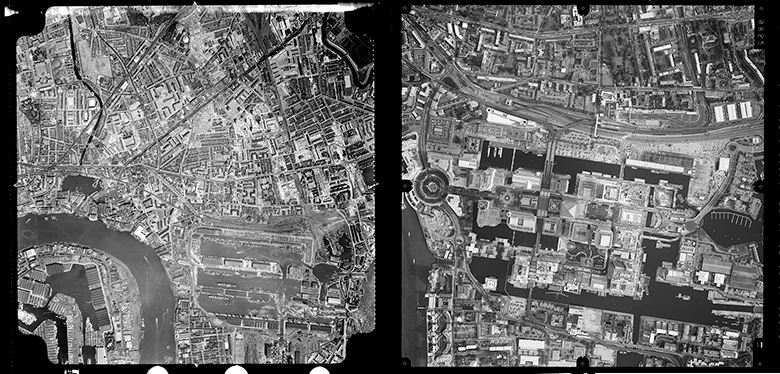 Lefthand image shows Canary Wharf in 1959 and the righthand image shows Canary Wharf in 2002.