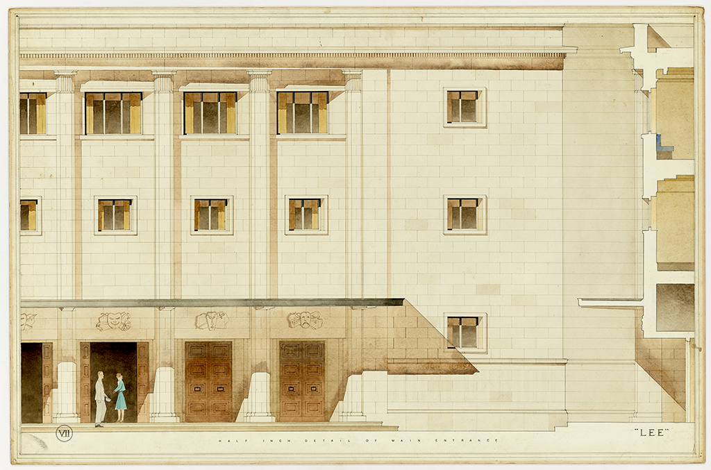 architectural drawing showing entrance to theatre