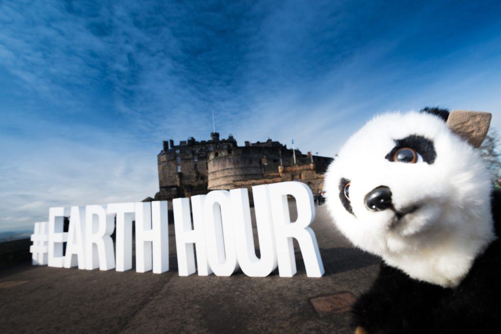 panda in front of a castle with large letters spelling out 'earth hour'